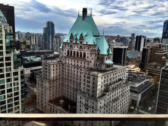 Hyatt Regency Vancouver View Off Of Balcony Facing Fairmont Hotel And Nordstrom