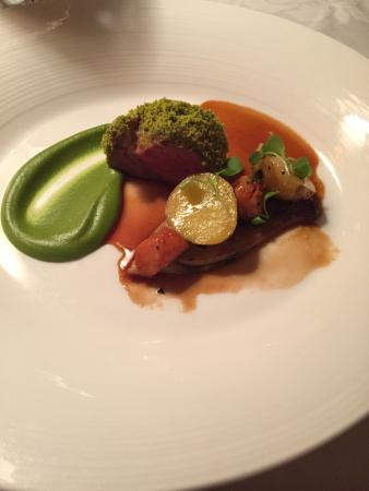 The Inn at Little Washington: Pistachio-Crusted Lamb Loin w/Peewee Dutch Potatoes and Glazed Fennel