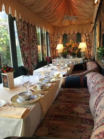 The Inn at Little Washington: Breakfast dining area, a view of the courtyard.
