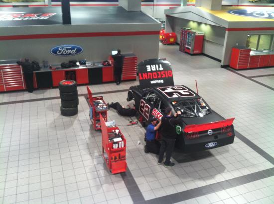 Penske Racing South Facility: Joey Logano in the shop area and stopped to talk with us