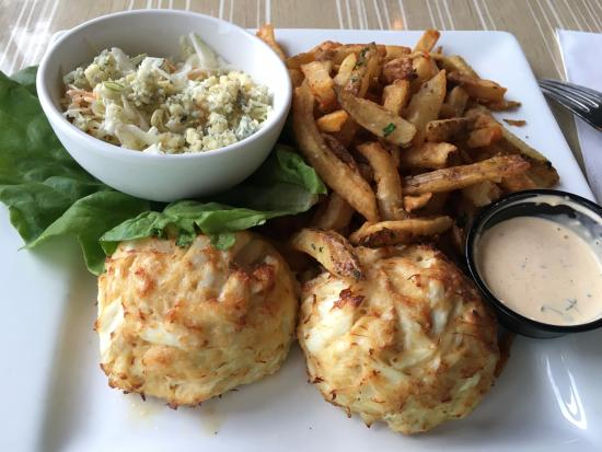 Arnold, MD: Crab Cakes (two jump lump crab cakes, with house remoulade, french fries, and bleu cheese colesl