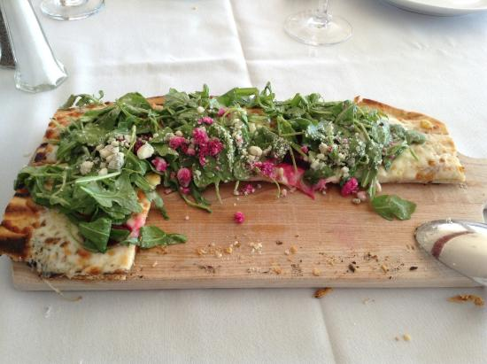 The Ship Restaurant: Beet focaccia , half eaten