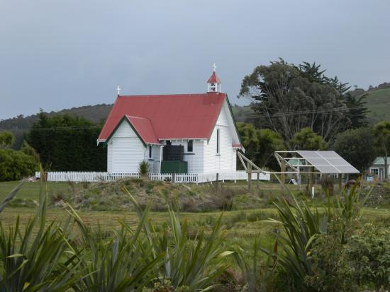 Waikava Harbour View: little church across the field