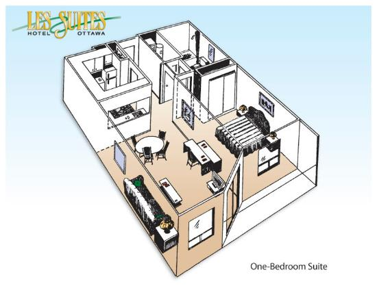 Les Suites Hotel Ottawa: One Bedroom Suite - floor plan
