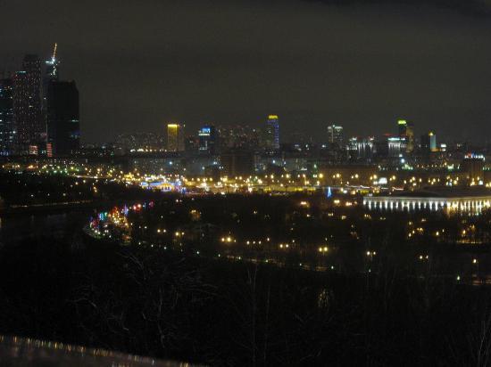 ночное фото воробьёвых гор и мгу