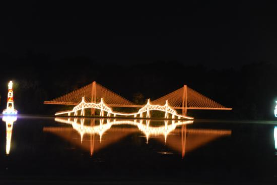 James Island County Park Campground & Cottages: Light display of the New Charleston Bridge and