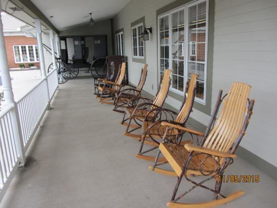 Porch Outside Der Dutchman With Amish Buggy