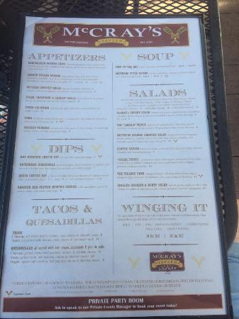 McCray's Tavern on the Square: menu pg 1