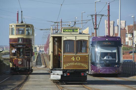 Blackpool, UK: Hertiage Trams 66 & 40 and a modern Flexity Tram at Bispham