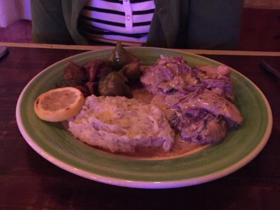 New Brockton, AL : Kyle's Kickin chicken with wasabi mashed potatoes and Brussels sprouts