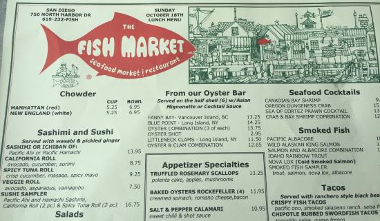 the menu picture of the fish market san diego tripadvisor
