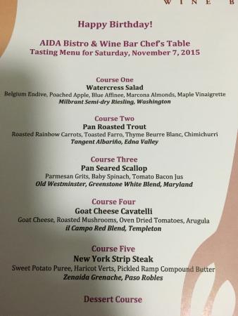 Aida Bistro & Wine Bar: Our menu.