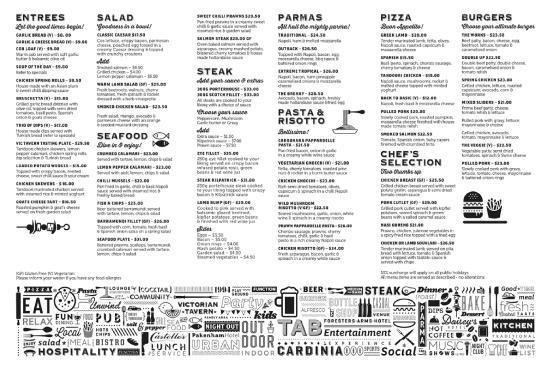 Gisborne, Australia: Our summer 2015-16 menu