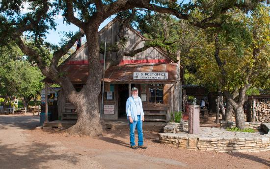 Luckenbach, TX: The front of the general store / post office (and one of the few residents)