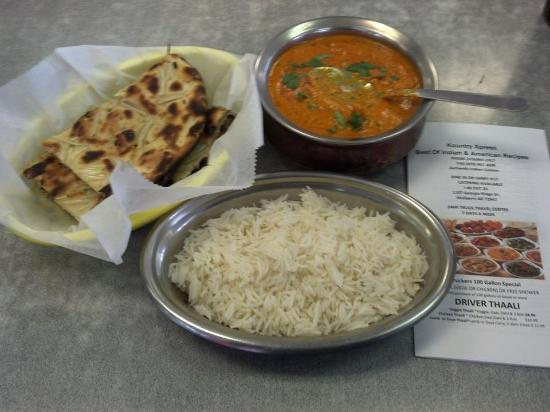 Mulberry, AR: Butter Chicken, Rice, and Onion Naan