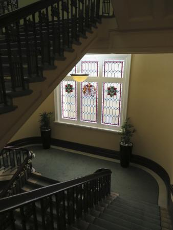 Heritage Christchurch : Beautiful staircase and stained glass windows
