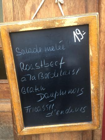 Cafe du Bourg de Four: Menu du Jour - unbeatable value in such a location