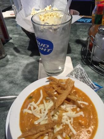 Spring Grove, IL: Chicken tortilla soup. Free popcorn