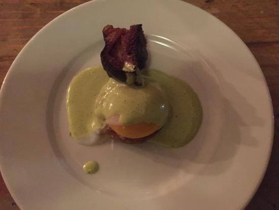 "Abi-Haus : ""Fried Green Tomato"" with Egg and Pork Belly"