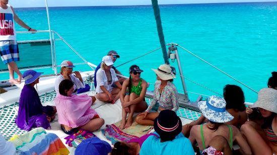 Bimini: Out on the catamaran. Learning about dolphins.