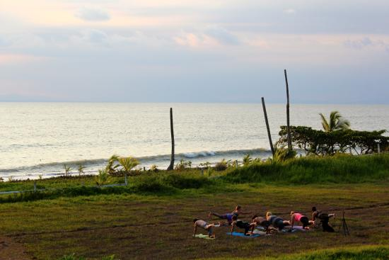 Agua Vida Surf: yoga during sunset at Agua Vida with birds singing all around!
