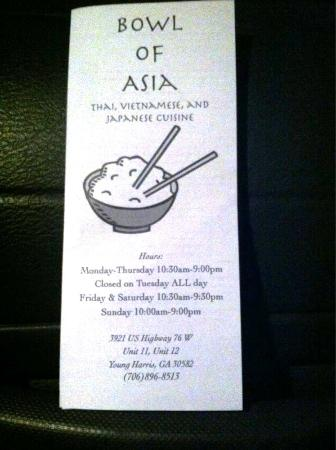Bowl of Asia: Menu & Hours