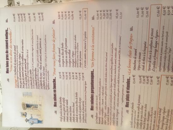 menu sideways oops photo de restaurant chez papa 15 paris tripadvisor. Black Bedroom Furniture Sets. Home Design Ideas
