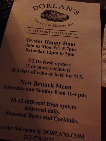 Happy hour special - Picture of Dorlan's Tavern & Oyster Bar, New