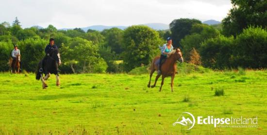 Eclipse Ireland Adventure and Equestrian Centre: Horse trekking along the Eclipse river