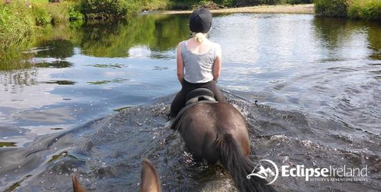 Eclipse Ireland Adventure and Equestrian Centre : Swimming in the river!