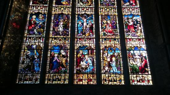 Detail from large stained glass window - Picture of Black Abbey ...