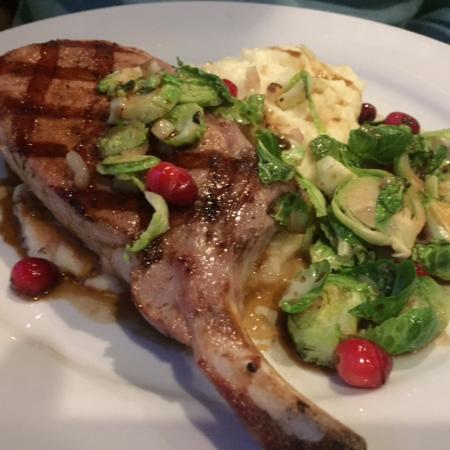 Litchfield, CT: pork chop with brussel sprouts and potatoes