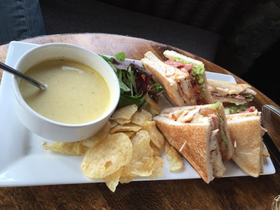 The Broadstraik inn: Soup and club sandwich - lovely bar lunch