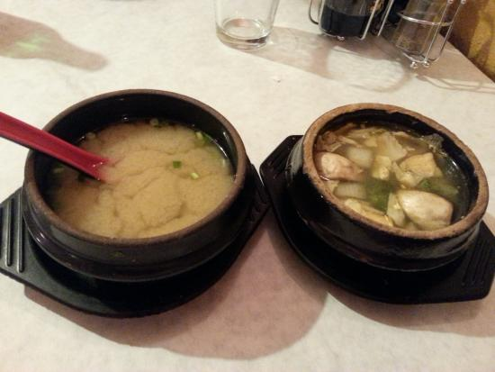 Bowl of Asia: Both soups: Miso on the left and Keung Chud on the right