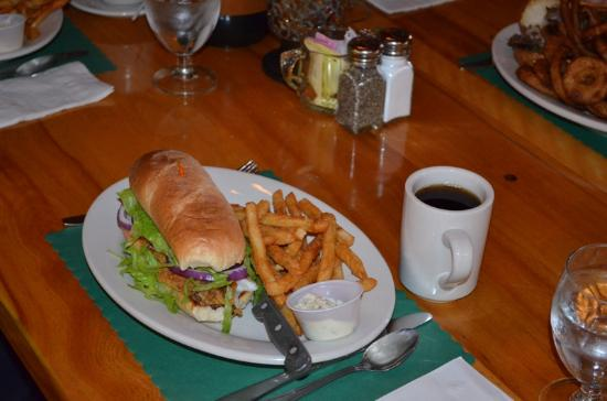 Manitowish Waters, WI: pan fried Walleye hoagie with fries