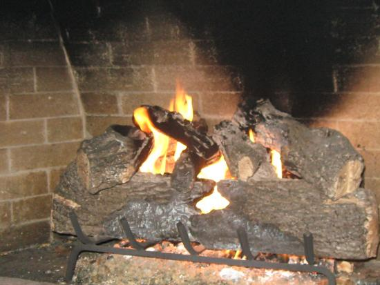 Coburg Pizza Company Centennial: one of the fireplaces (gas but looks like logs)