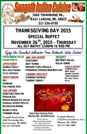 Swagath Indian Cuisine: ThanksGiving Buffet 2015 November 26th Thursday All Day