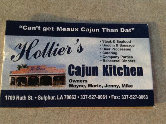Hollier's Cajun Kitchen: Business card