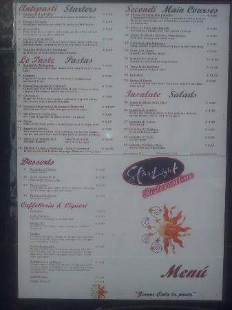 Starlight casino food menu