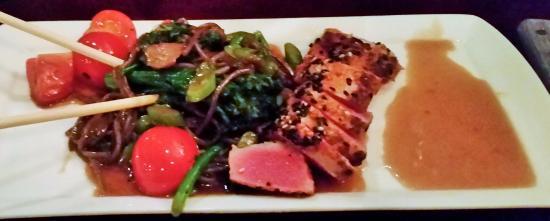 Rochelle Park, NJ : Sesame crusted tuna, baby bok choy, buckwheat noodles, broccolini, teriyaki peanut & coconut sau