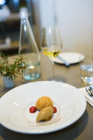 Dessert - Choux pastry with apple cremeux, roasted malt barley ice-cream and crabapples