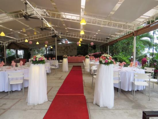 Rainbow Paradise Beach Resort Bbq Wedding Reception Area Outdoors But Under Cover