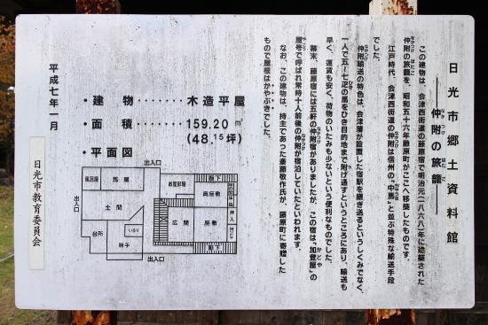 鬼怒川公園, 「日光市郷土資料館 仲附の旅籠」看板