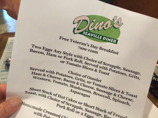 Ocean View, Nueva Jersey: Veteran's Day 11 Nov. 2015 at Dino's Seaville Diner