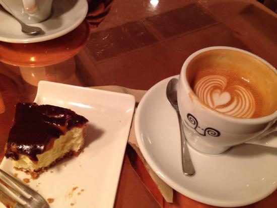 Stylish flat white and scrumptious cheese cake with rather good