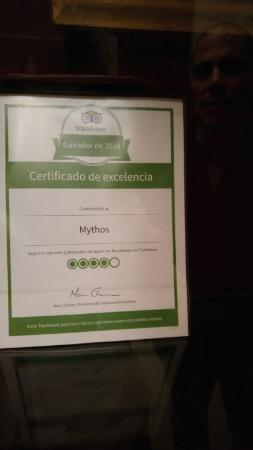 Mythos: The Trip Advisor Certificate proudly displayed