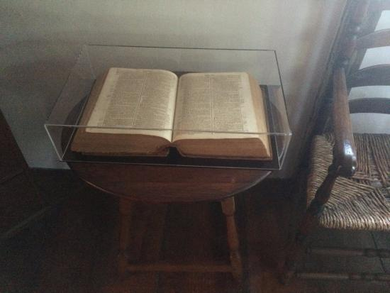 Jabez Howland House: Howland Family Bible brought over on Mayflower
