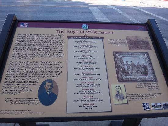 Williamsport, MD: Historic marker along Potomac St. by Desert Rose Cafe