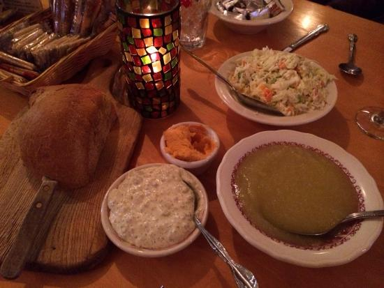 Trevor, WI: Fresh sides of apple sauce, tartare sauce, rye bread & coleslaw come with every Fish Fry.