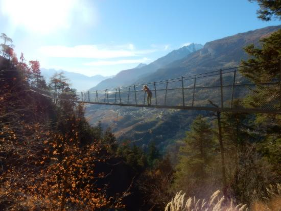 Chandolin, Suíça: First suspension bridge, Torrent-Neuf
